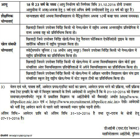Constable (Sportsperson) Recruitment in ITBP 2