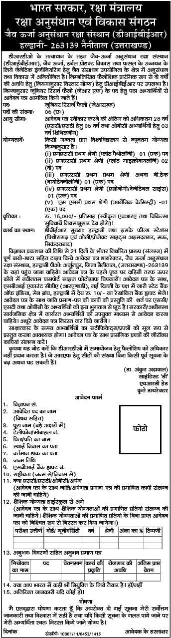 DIBER Haldwani JRF Recruitment