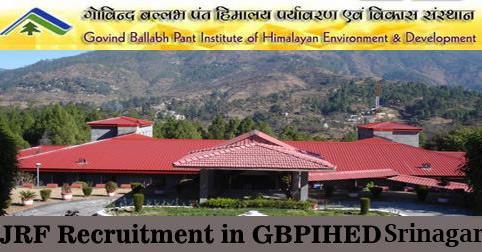 JRF Vacancy in GBPIHED Srinagar