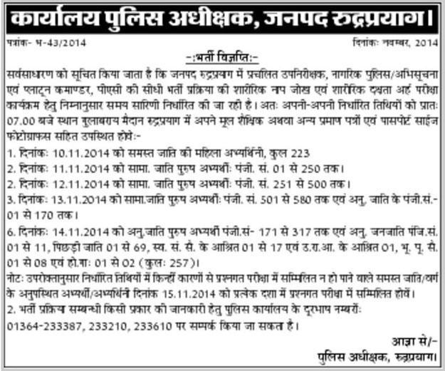 Rudraprayag Physical Dates SI Commander Recruitment