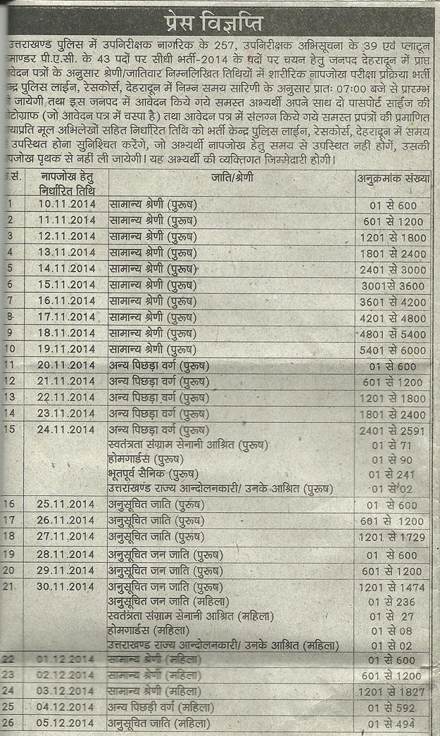 SI Dehradun Physical Exam Advertisement