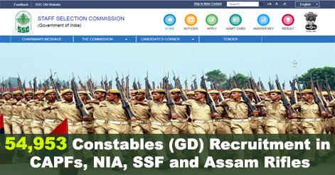 54953 Constables (GD) Recruitment in CAPFs, NIA, SSF and Assam Rifles