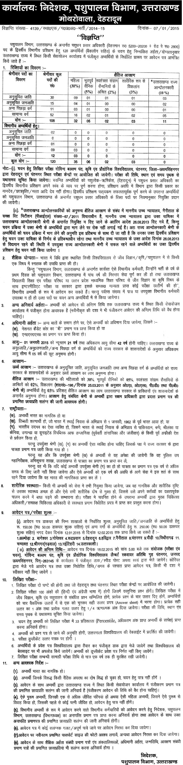 Pashudhan Prasar Adhikari (Livestock Development Officers) Recruitment in Pashupalan Vibhag Uttarakhand