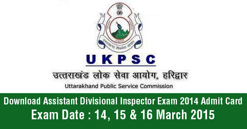 Download Assistant Divisional Inspector Exam 2014 Admit Card