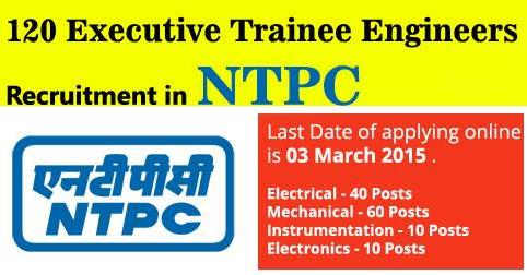 Executive Trainee Engineers Recruitment in NTPC