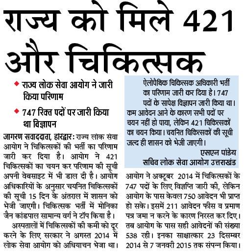 Uttarakhand 421 Doctors (Allopathy) Result