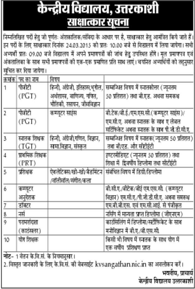 Teachers Vacancy in KV Uttarkashi