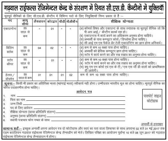 Accountant Billing Clerk and Helper Recruitment in CSD Canteens Garhwal Rifles Lansdowne