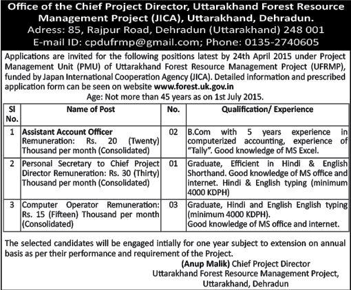 Asst Account Officer, Personal Secretary & Computer Operator Recruitment in UFRMP