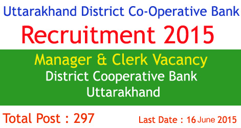 Manager & Clerk Vacancy in District Cooperative Bank in Uttarakhand