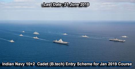 Indian Navy Recruitment under 10+2 Cadet (BTech) Entry Scheme for Jan 2019 course