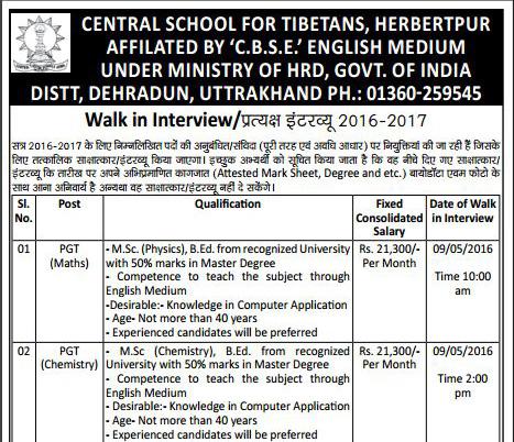 Teachers & Librarian Recruitment in Central School For Tibetans1