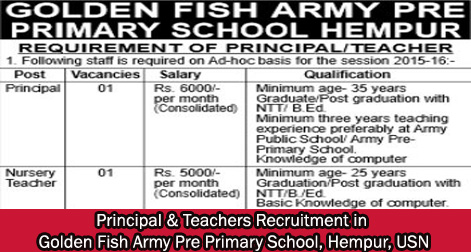 Teachers Recruitment Golden Fish Army Pre Primary School Hempur