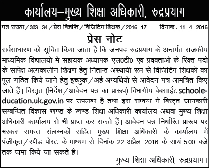 Guest Teacher Recruitment Notification in Rudraprayag