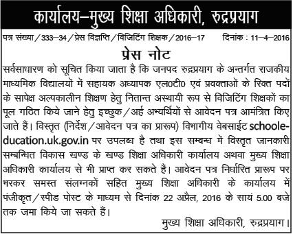 Guest Teacher Recruitment Notification in Rudraprayag