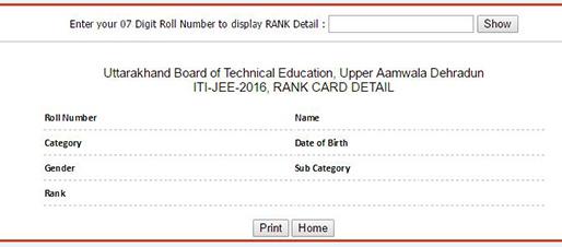 Uttarakhand ITI JEE Result 2016