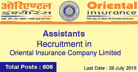 Assistants Recruitment Oriental Insurance OICL