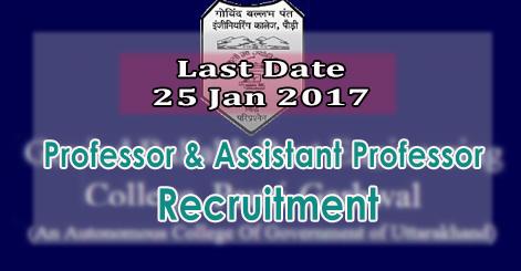 Professor & Associate Professor Recruitment in GBPEC Pauri