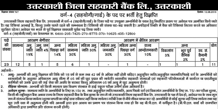 District Cooperative Bank Uttarkashi Helper Guard Recruitment