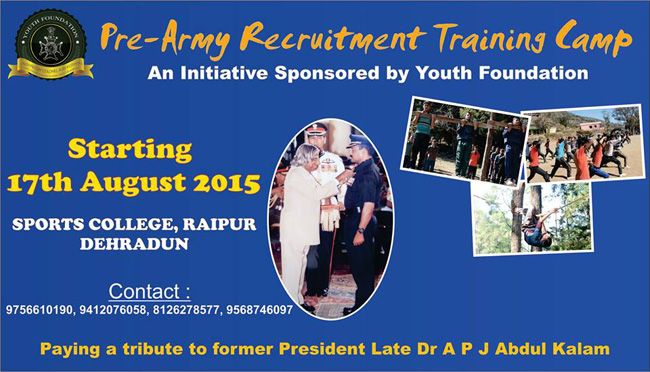 Free Army Bharti Pre Training Camp in Dehradun by NIM Col Ajay Kothiyal