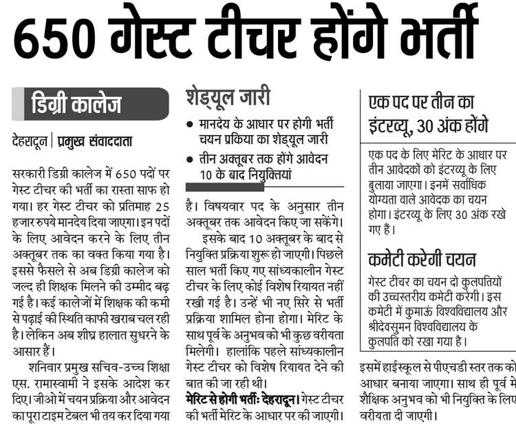 Guest Teachers Recruitment in Uttarakhand Colleges