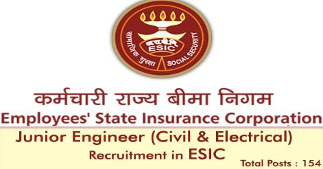 Junior Engineer Recruitment in ESIC