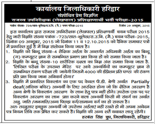 List of Changes in Patwari and Lekhpal Recruitment in Haridwar