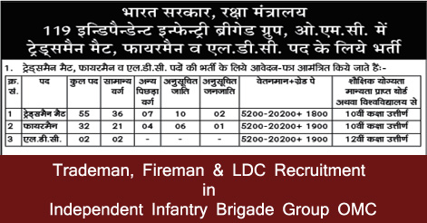Trademan, Fireman & LDC Recruitment in Independent Infantry Brigade Group OMC