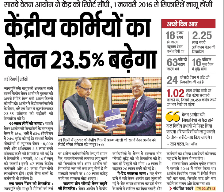 7th Pay Commission will increase Salary in 2016