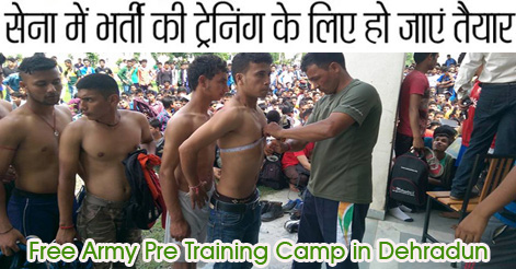 Free Army Pre Training Camp in Dehradun