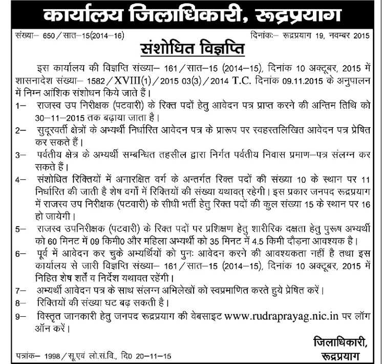 Patwari Recruitment in Rudraprayag