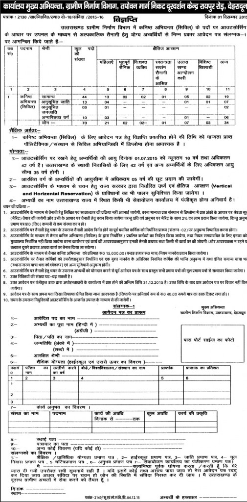 Junior Engineer (Civil) Recruitment in Department of Rural Development