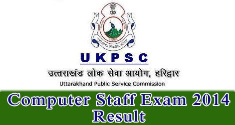 UKPSC Computer Staff Exam 2014 Result