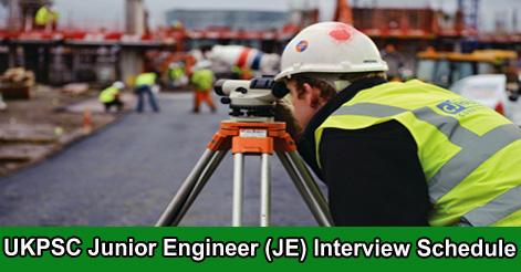 UKPSC Junior Engineer  Interview Schedule