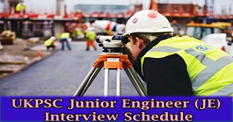 UKPSC Junior Engineer (JE) Interview Schedule