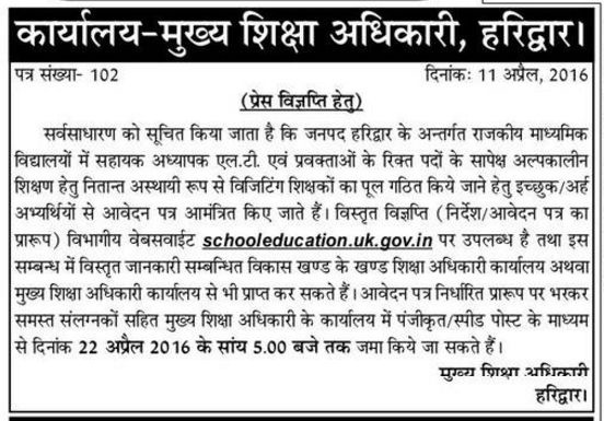 Guest Teacher Recruitment Notification in Haridwar