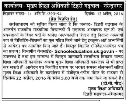 Guest Teacher Recruitment in Tehri Garhwal