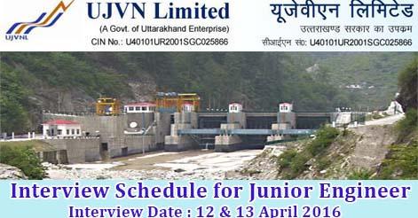 UJVNL Interview Schedule for Junior Engineer