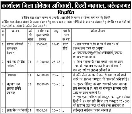 Multiple Recruitment in District Probation Office Tehri 1