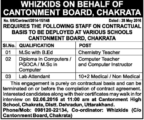 Teachers & Lab Attendant Recruitment in Cantonment Board Chakrata