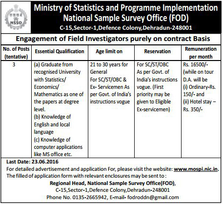 Field Investigator Recruitment in National Sample Survey Office (FOD) Dehradun