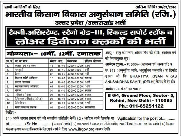 Multiple Recruitment in Bhartiya Kisan Vikas Anusandhan Samiti