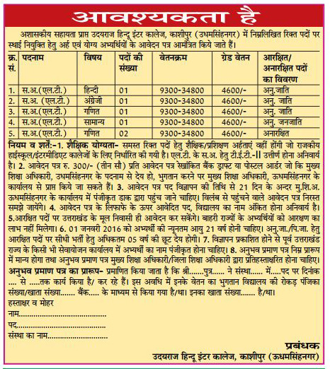 Teachers Recruitment in Udairaj Hindu Inter College Kashipur