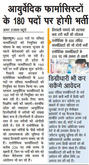 Ayurveda Pharmacist will be recruited on 180 Post