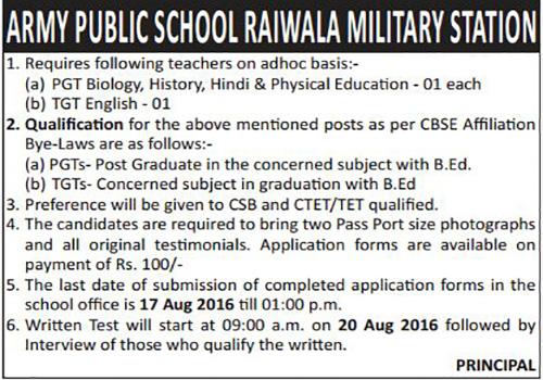 Teachers Recruitment in Army Public School Raiwala