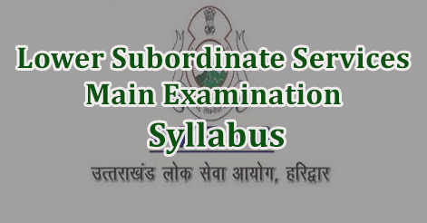 Lower Subordinate Services Main Examination Syllabus