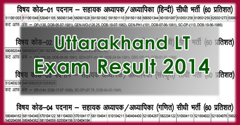 Uttarakhand LT Recruitment Exam Result 2014