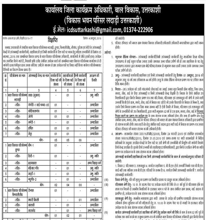 Anganbadi Workers, Mini Worker & Helpers Recruitment in Uttarkashi 1