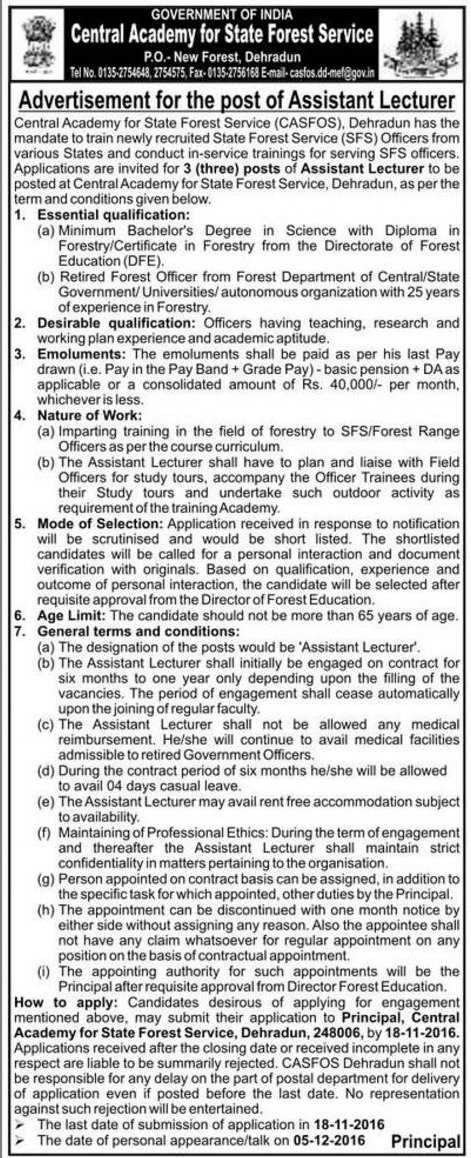 Assistant Lecturer Recruitment in CASFOS Dehradun 1