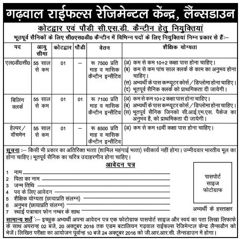 LDC, Billing Clerk and Helper Recruitment in CSD Canteens Garhwal Rifles Lansdowne